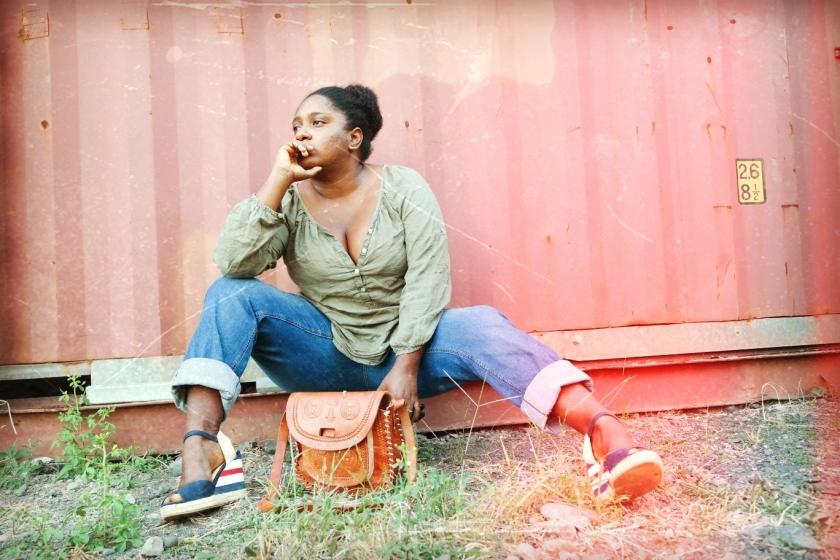 basique jean blouse kaki